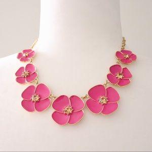 Kate Spade Pink & Gold Flower Collar Necklace EUC